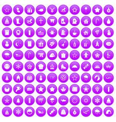 100 christmas icons set purple vector