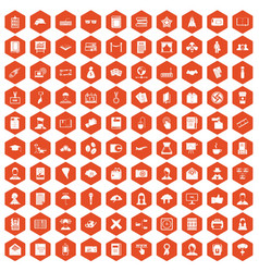 100 writer icons hexagon orange vector