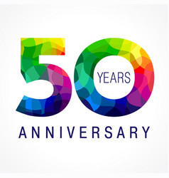 50 anniversary facet color logo vector