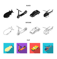 a dirigible a children scooter a taxi a vector image
