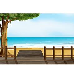 A wooden bench on a beach vector image