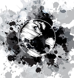 abstract drawing global with grunge design vector image