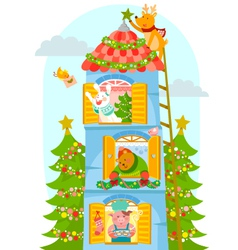 Animals enjoying christmas vector