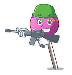 Army lollipop with sprinkles character cartoon vector