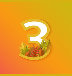 Autumn three 3 number with forest leaves vector