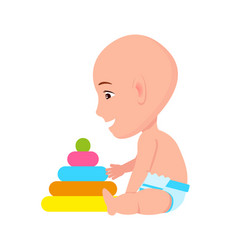 Bald toddler infant in diaper playing with pyramid vector