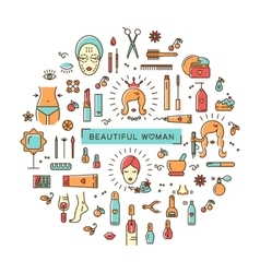Beauty set line icons art Beautiful woman vector image