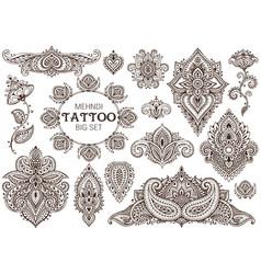 Big set henna floral elements vector