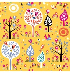 Birds in the trees nature pattern vector