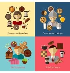 Birthday cake grandmas cookies sweets vector