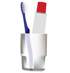 Blue toothbrush in glass vector image