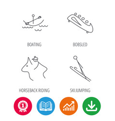 Boating horseback riding and bobsled icons vector