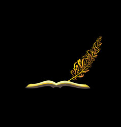 book and golden graffiti quill pen vector image