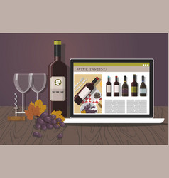bottle of red wine red wine tasting vector image
