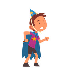 boy wearing magician costume cute kid playing vector image