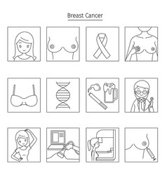 breast cancer outline icons set vector image