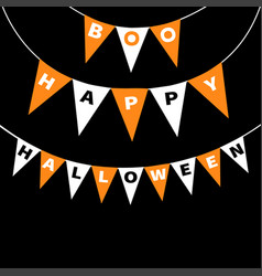 Bunting flags pack boo happy halloween letters vector