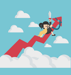 business woman riding success arrow graph up to vector image
