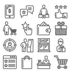 Buyer customer and promotion icons set line vector