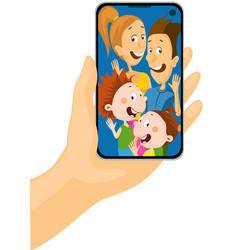call to all family - mobile phone in hand vector image