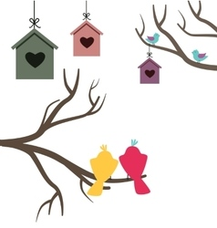 Card with nesting boxes and birds vector image vector image