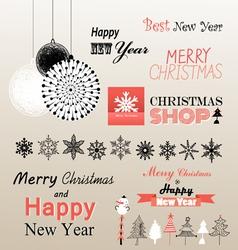 Christmas greetings set vector image