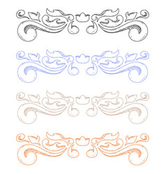 Colored ornaments classic floral dividers vector