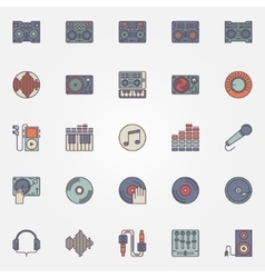 Colorful DJ icons set vector image