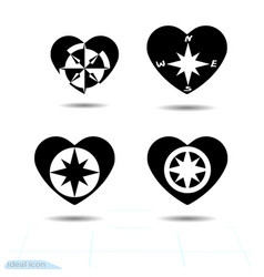 compass windrose icon flat heart black template vector image