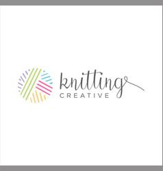 Crochet knitting ewing needleyarn logo design vector
