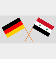 Crossed syrian arab republic and germany flags vector