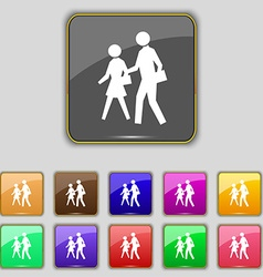 Crosswalk icon sign Set with eleven colored vector