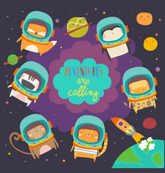 cute animals in space funny animals wearing space vector image