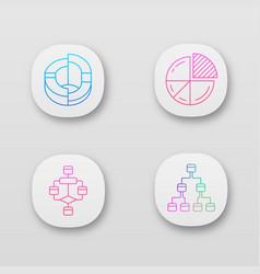 diagrams app icons set planning process flow vector image