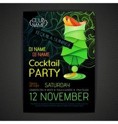 Disco cocktail party poster3D cocktail design vector