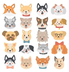 Dogs heads emoticons set vector image