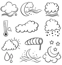 doodle of weather set cloud moon star wind vector image