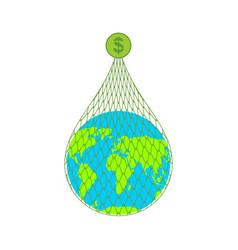 earth on net dollars planet in fishing net vector image
