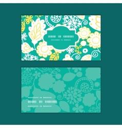 Emerald flowerals horizontal frame pattern vector