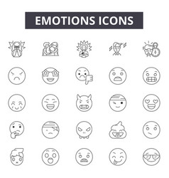 emotions line icons signs set outline vector image