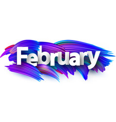 February banner with blue brush strokes vector