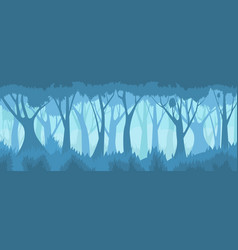 Foggy forest landscape vector