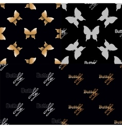Four seamless pattern with golden butterflies vector image