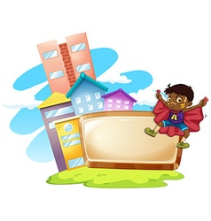 Frame design with boy and buildings vector image