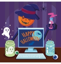 Funny flat cartoon happy halloween poster vector