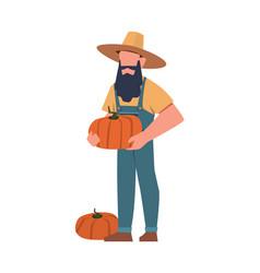 Gardener agricultural worker with harvest farmer vector
