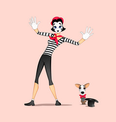 girl mime performance vector image