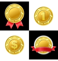 Gold Coin Medal Icon vector image