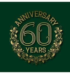 Golden emblem of sixtieth years anniversary vector