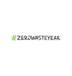 handwritten lettering of zero waste vector image
